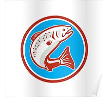 Trout Fish Jumping Circle Retro Poster