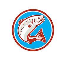 Trout Fish Jumping Circle Retro Photographic Print