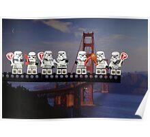 Paleo Stormtroopers over Golden Gate Bridge Poster