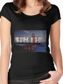Paleo Stormtroopers over Golden Gate Bridge Women's Fitted Scoop T-Shirt