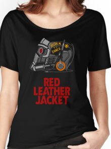 Red Leather Jacket Women's Relaxed Fit T-Shirt