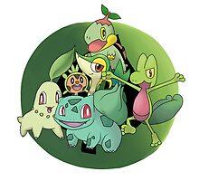 Pokemon Grass Starters Fanart by treetreez
