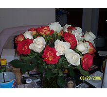 Red & White Roses Again Photographic Print