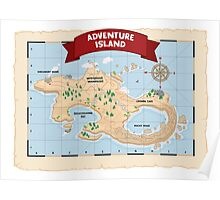 Epic Explorer's Adventure Island Map Poster