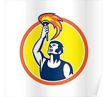 Athlete Player Raising Flaming Torch Circle Retro Poster