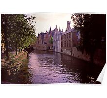 Bruges Canal at Sundown 2002 Poster