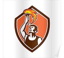 Athlete Player Raising Flaming Torch Shield Retro Poster