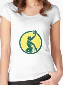 Basketball Player Dunk Ball Circle Retro Women's Fitted Scoop T-Shirt