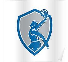 Basketball Player Dunk Ball Shield Retro Poster