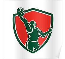 Basketball Player Rebounding Lay-Up Ball Shield Poster