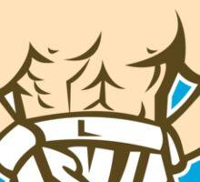 Boxer Champion Shouting Circle Retro Sticker