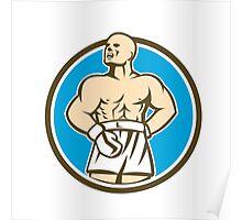 Boxer Champion Shouting Circle Retro Poster