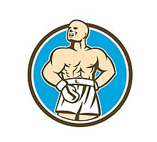 Boxer Champion Shouting Circle Retro Photographic Print