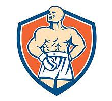 Boxer Champion Shouting Shield Retro by patrimonio