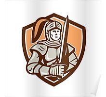 Knight Full Armor With Sword Shield Retro Poster