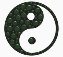 Green and Black Yin Yang With Bubble Texture Kids Clothes