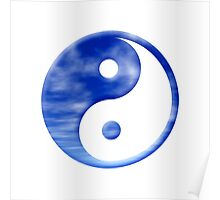 Blue Sky With Clouds Yin Yang Symbol Poster