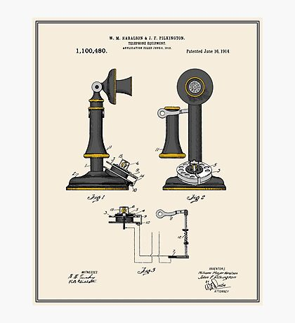 Telephone Patent - Colour Photographic Print