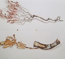 Withered Heather and Oak Twig by Geraldine M Leahy