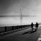 Promenade along the foggy Embarcadero by James Watkins