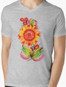 Khokhloma flower Mens V-Neck T-Shirt
