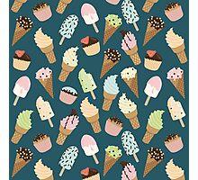 Ice-cream Pattern Blue Photographic Print
