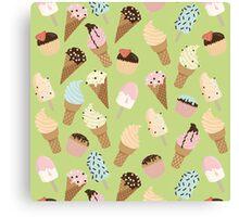 Ice-cream Green Pattern Canvas Print