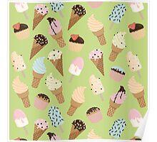 Ice-cream Green Pattern Poster