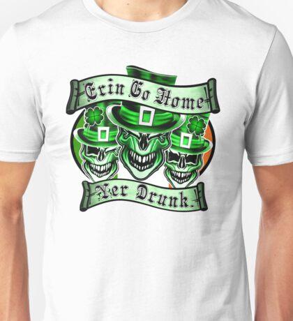 Leprechaun skull Trio: Erin Go Home, Yer Drunk Unisex T-Shirt