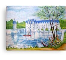 Chateau Chenonceau watercolor painting Canvas Print