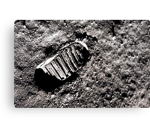 First moon footprint. Canvas Print