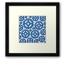 Blue gear wheels Framed Print