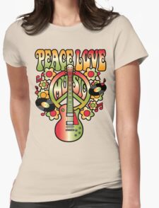 Peace-Love-Music Womens Fitted T-Shirt