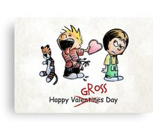 Valentines Day Calvin and Hobbes and Susie Fan Art Canvas Print