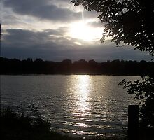 Sunset over Car Mill Dam Two, St Helens by nicholaTisdall