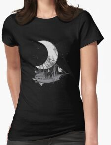 Moon Ship Womens Fitted T-Shirt
