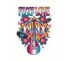 Peace, Love and Music Art Print