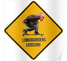 Longboarders crossing caution sign. Poster