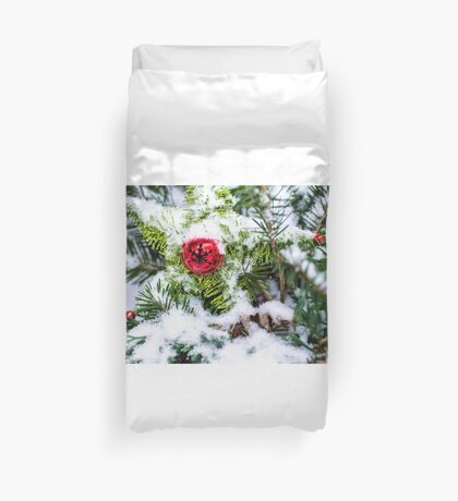 Red Jingle Bell and Snow Duvet Cover