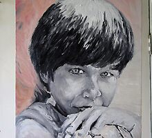 Karen, painted yesterday, from a picture, taken, in 1967.  by Ozcloggie