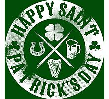 Saint Patrick's Day White Badge Logo Photographic Print