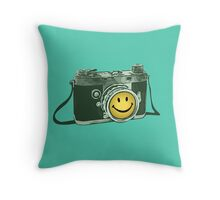 Smiley camera Throw Pillow
