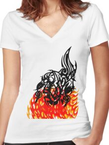 From The Flames Women's Fitted V-Neck T-Shirt