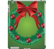 Christmas wreath with red bow iPad Case/Skin