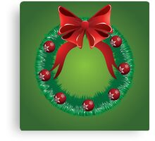 Christmas wreath with red bow Canvas Print