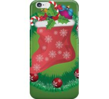 Christmas wreath with Santa sock iPhone Case/Skin