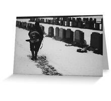 MAN IN SNOWY CEMETERY  Greeting Card