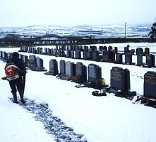 MAN IN SNOWY CEMETERY COLOUR by alexandriaiona