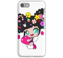 Cute little girl with candy in her hair, wings and hearts iPhone Case/Skin