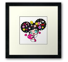 Cute little girl with candy in her hair, wings and hearts Framed Print